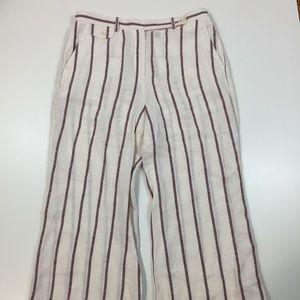 THEORY Sz 8 Striped 100% Linen Wide Leg Pants